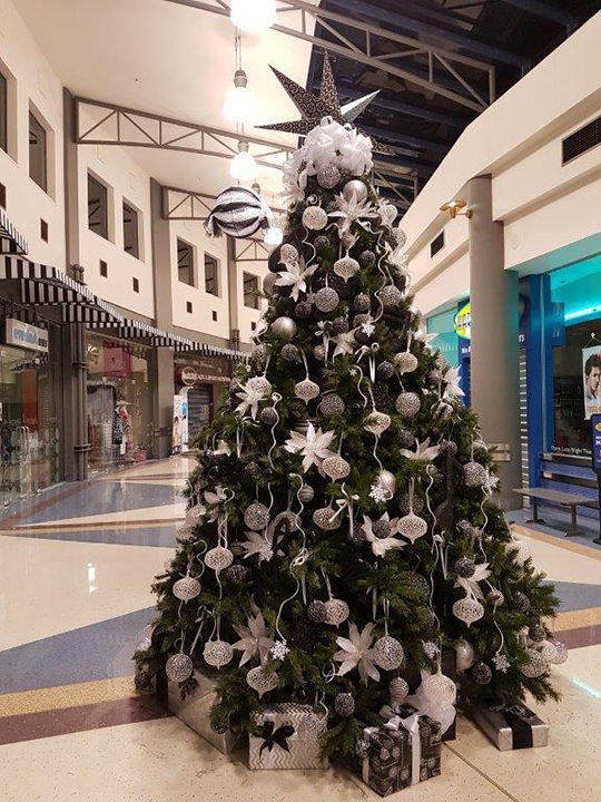 Christmas Tree Masterpiece, Shopping Mall White and Silver