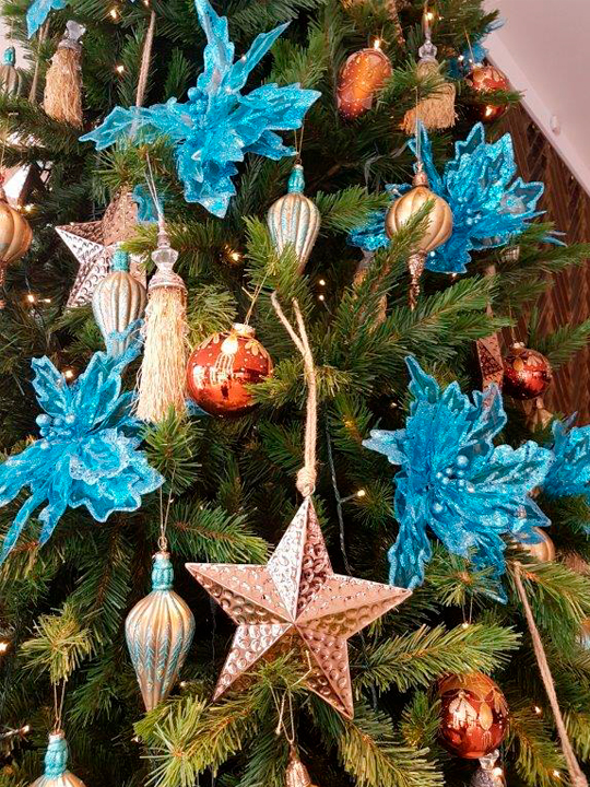Christmas Tree Masterpiece, Blue Flowers and Gold Stars