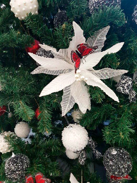Christmas Tree Masterpiece, Butterflies on White Flowers