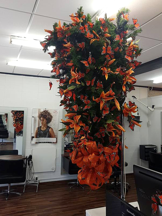 Christmas Tree Masterpiece, Hairworks Inverted Orange Butterflies