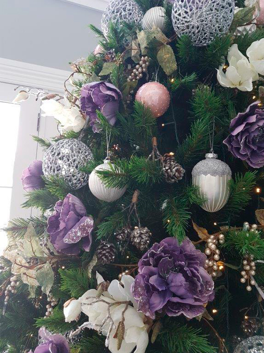 Christmas Tree Masterpiece, Purple Flowers and Silver Closeup