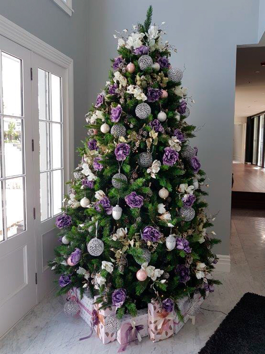 Christmas Tree Masterpiece, Purple Flowers and Silver