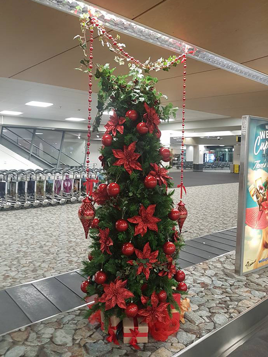 Christmas Tree Masterpiece, Wellington International Airport Red Baubles and Flowers