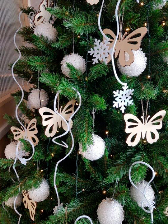 Christmas Tree Masterpiece, White Pompoms and Butterflies
