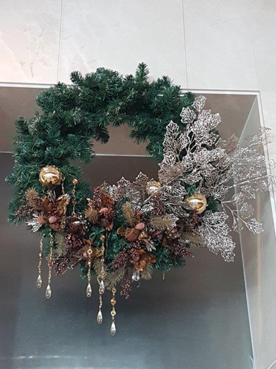 Christmas Wreath Masterpiece, Silver Branches and Glass Drops